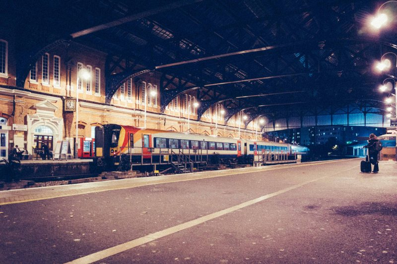 Bournemouth Railway Station late in the evening