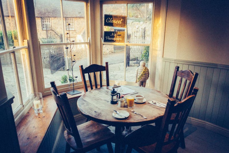 Breakfast table at Bishop´s Cottage