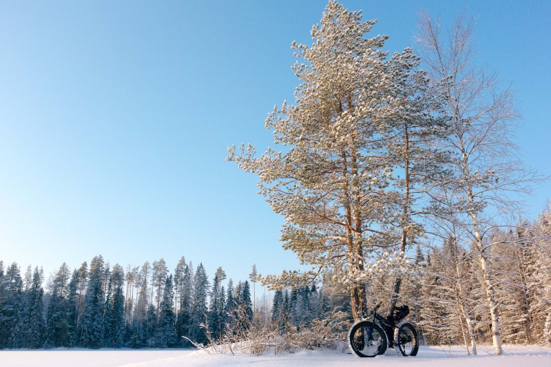 Cold day biking in Finland