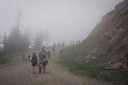 Marathon du Mont Blanc spectators heading to finish line
