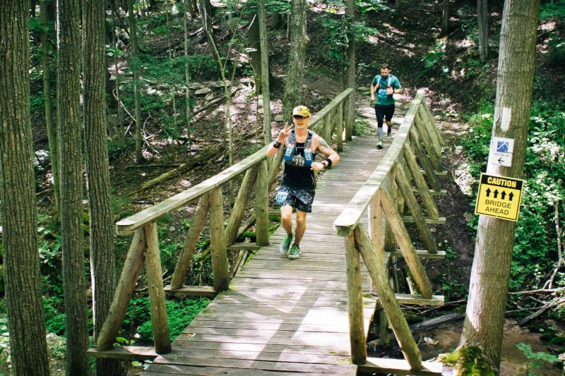Crossing a bridge in North Face Endurance Challenge Ontario