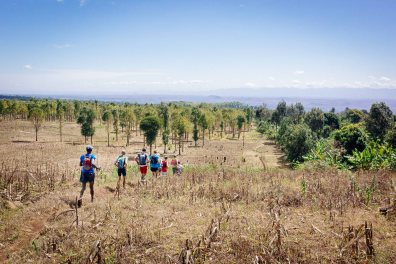 Passing through farmlands on Day 2 of Kilimanjaro Stage Run