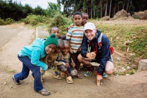 Meeting local children at Kenyan border
