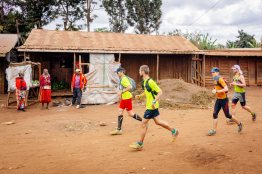 Passing Maasai settlements on Kilimanjaro Stage Run