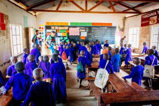 Visiting a school in Tanzania during Kilimanjaro Stage Run