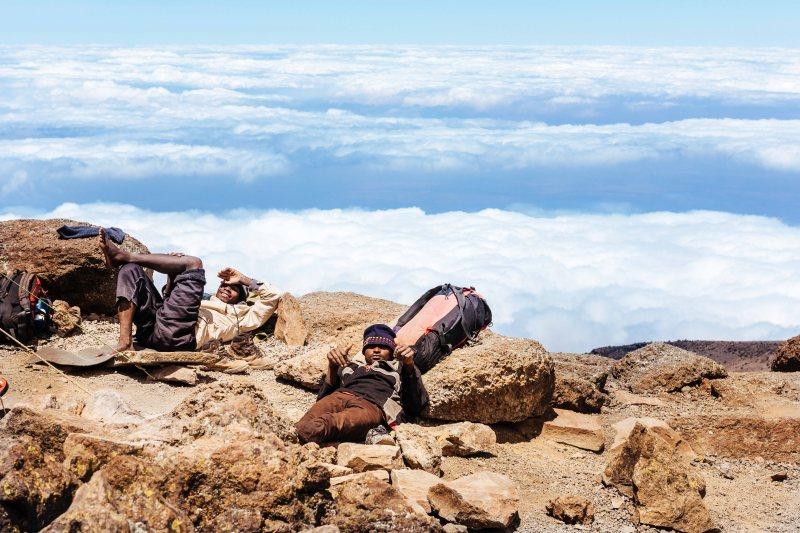 Crew resting at Barafu, Kilimanjaro