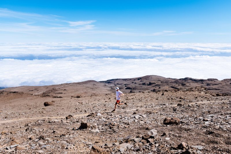 Running down from Kilimanjaro Barafu camp