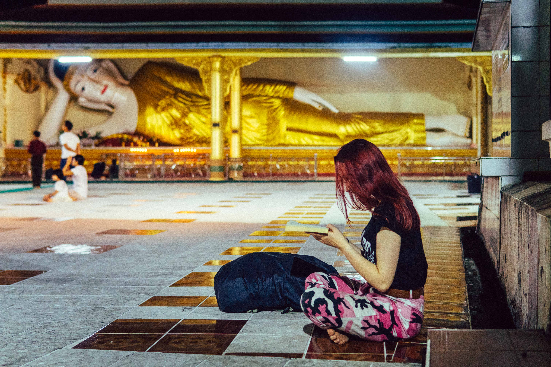 Reading in Ye Pagoda, Myanmar