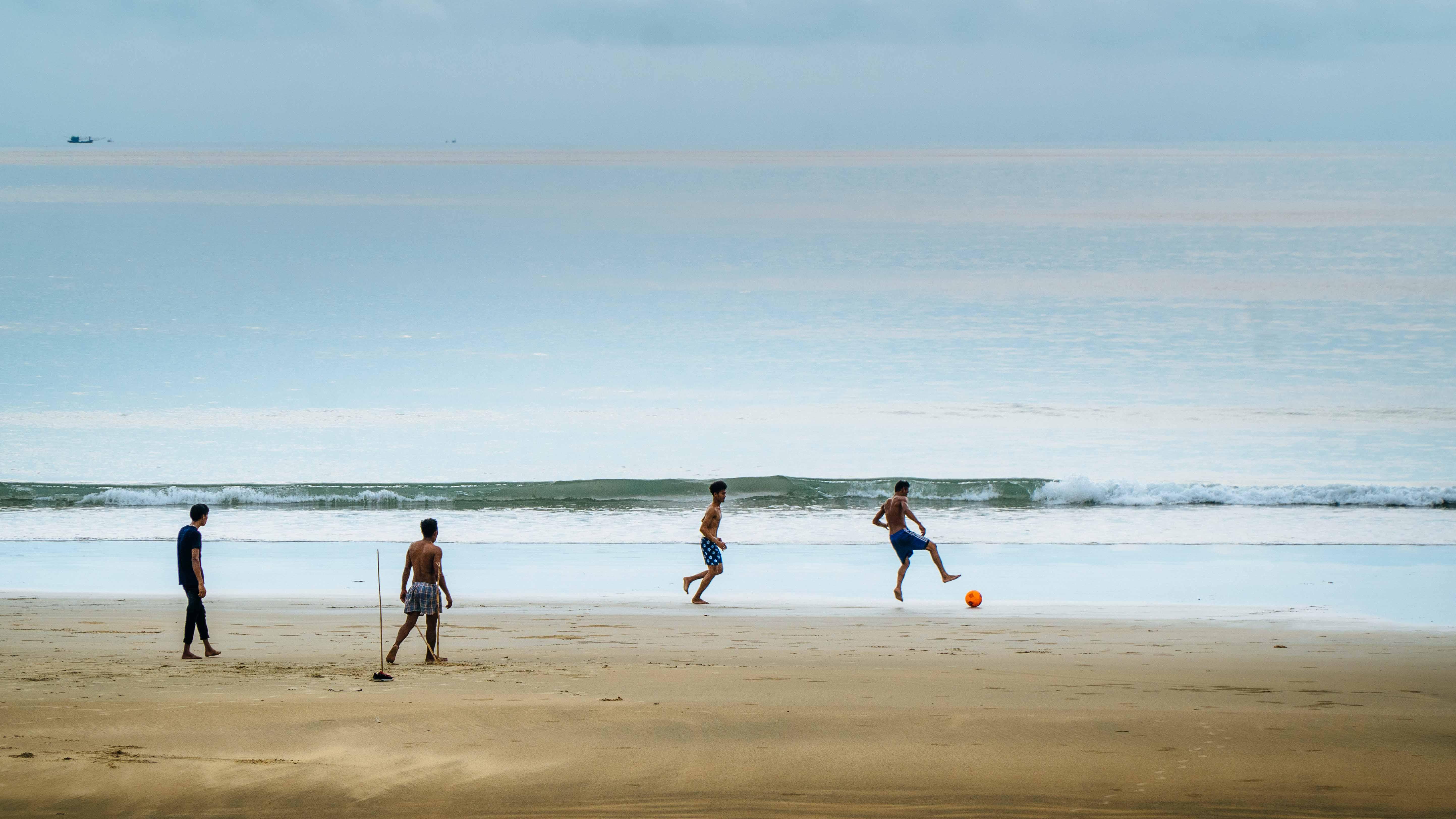 Football on the beach in Myanmar